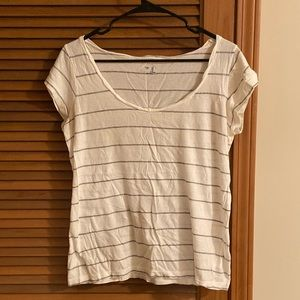 Gap, White/Gray Striped TShirt